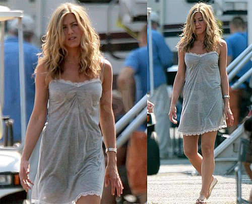 Photos of Jennifer Aniston on NJ Set Of The Bounty