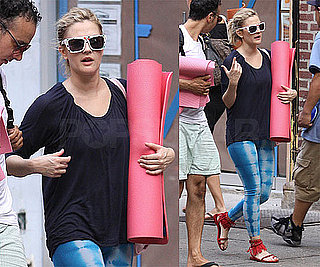 Photos of Drew Barrymore in Tie-dyed Leggings and Sunglasses after Yoga Class in NYC