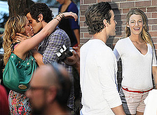 Photos of Hilary Duff and Penn Badgley Kissing on the Set of Gossip Girl