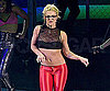 Slide Photo of Britney Spears in Red Pants and Glasses Performing Circus