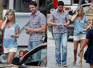 Photos of Jennifer Aniston And Gerard Butler, Whose Is in Dog Trouble, Shooting The Bounty in NYC