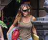 Slide Photo of Sarah Jessica Parker in a Brown Tank Leaving Her House
