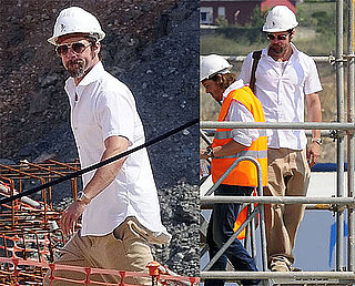 Brad Pitt Visiting a Construction Site in Spain