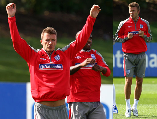 Photos of David Beckham practicing with the team