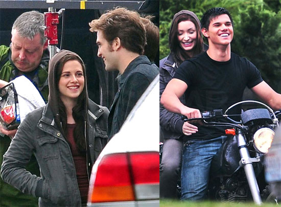 Photos of Kristen Stewart, Robert Pattinson and Taylor Lautner on Eclipse Set 2009-09-10 08:07:16