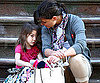 Slide Photo of Katie Holmes and Suri Cruise Sitting Together on Steps
