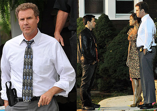Photos of Eva Mendes, Will Ferrell, and Mark Wahlberg Filming the Other Guys; Will Ferrell and Wife Viveca Announce Third Baby