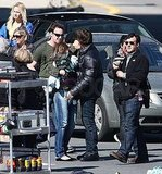 Photos of Katie, Suri, and Tom on Set in Boston