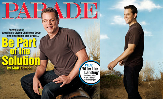 Photos of Matt Damon in Parade Magazine 2009-10-09 11:13:57
