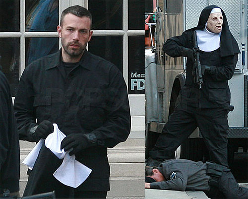 Photos of Ben Affleck Shooting a Robbery Scene in a Nun's Mask on the Boston Set of The Town