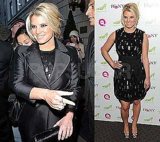 Photos of Jessica Simpson Wearing Black on The FFANY Shoes on Sale QVC Event in NYC