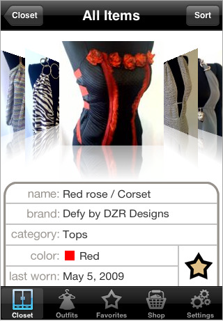 Touch Closet iPhone App Records and Organizes Your Closet and Outfits