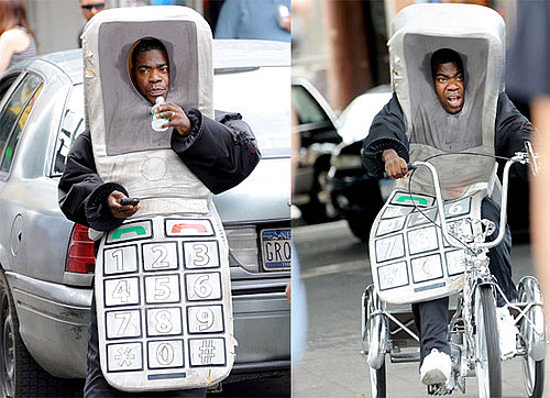 Tracy Morgan in a Cell Phone Costume on Set With Bruce Willis in NYC