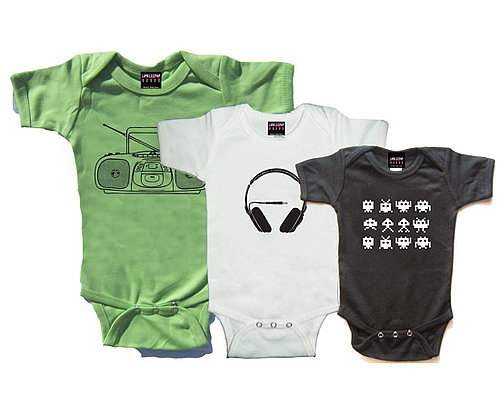 Headphones, Ghetto Blaster, Space Invaders Baby Onesie Pack
