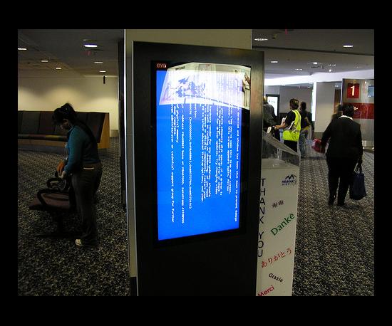 Ad Stand in Melbourne, Australia Airport