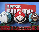 Blooper, Mario, and Goomba Cupcakes