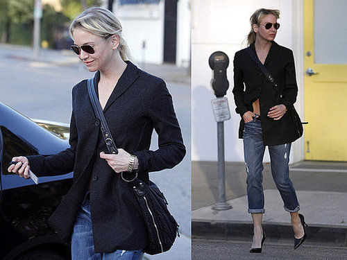 Renee Zellweger in Hollywood Wearing Black Blazer and Tod's Crossbody Bag
