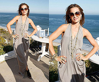 Mena Suvari Attends a Jewelry Party on the Beach Wearing Gray Alice + Olivia Halter Maxi