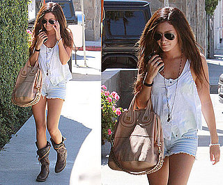 Ashley Tisdale Strolls LA Wearing Nude Givenchy Bag and Studded Jean Shorts