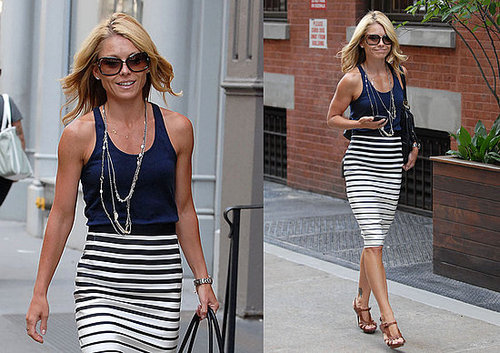 Kelly Ripa Strolls NYC in Black and White Striped Dries Van Noten Skirt