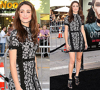 Photo of Emmy Rossum Wearing Black and White Phi Dress at Orphan Premiere in LA