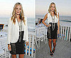 Molly Sims Attends Bertolli Party in Malibu Wearing Black Leather and Knit Skirt and White Blazer