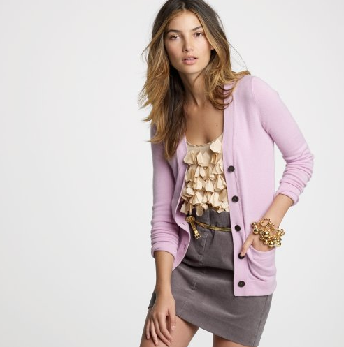 This Lavender Cashmere Cardigan, ($168) is to die for.