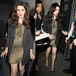 Rachel Weisz Spotted in London Wearing Animal Print Dress and Black Blazer