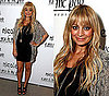 Nicole Richie in Sheer Gray Cardigan and Black Mini Dress at Pea in the Pod Launch Party For Nicole Richie Maternity Collection