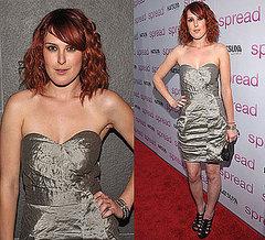 Shop Now. donning a beautiful crinkled Karen Millen metallic dress...
