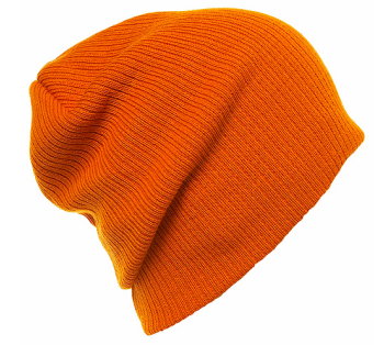 Topshop Orange Rib Beanie Hat