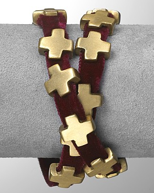 Robert Lee Morris For Elizabeth and James Velvet Plus Cross Bracelet