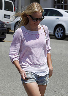 Kate Bosworth Running Errands in LA in Lavender Sweatshirt and Jean Shorts