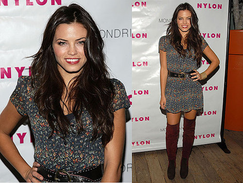 Jenna Dewan Attends Nylon Party in Floral Dress and Over-the-Knee Boots