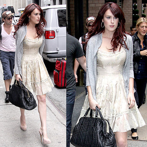 Sorority Row Star Rumer Willis in Manhattan Carrying a Black Bottega Veneta Bag Wearing Sundress