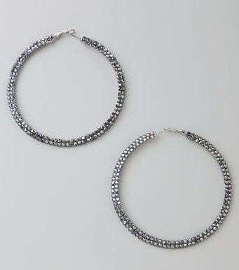 Kenneth Jay Lane Large Rhinestone Hoops