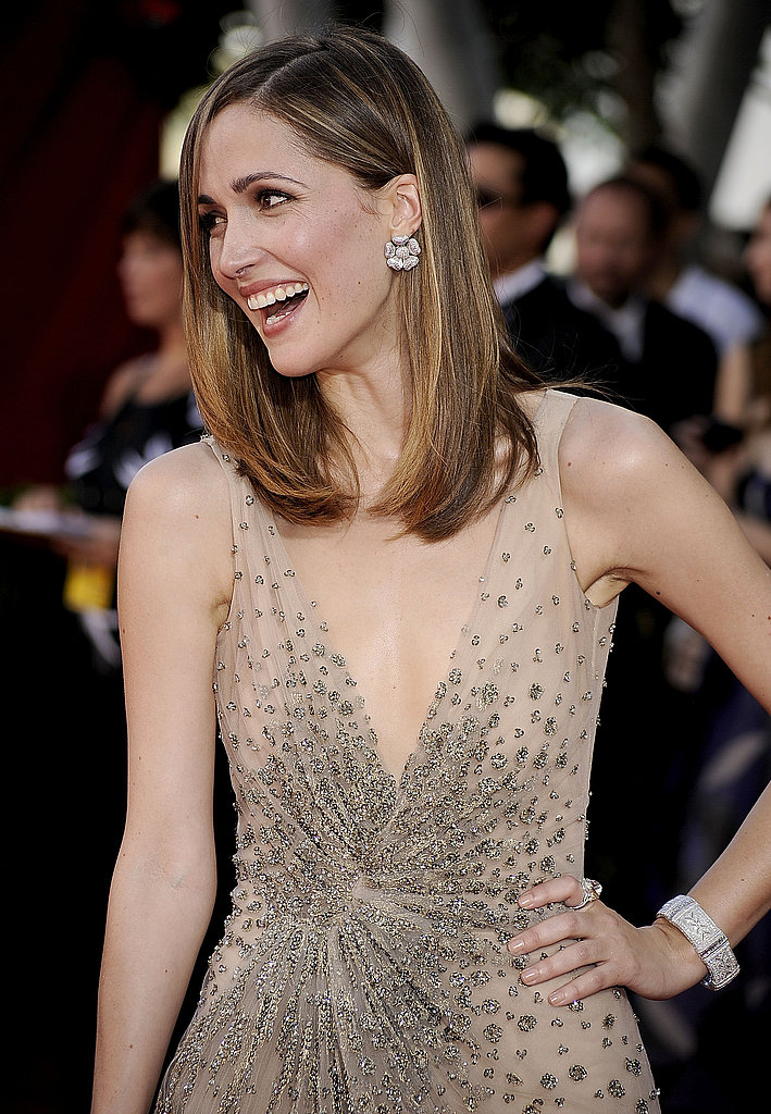 Rose Byrne's diamond bracelet and cluster earrings.