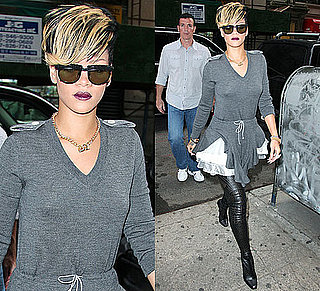 Photo of Rihanna in Gray Dress and Stella McCartney Boots in NYC