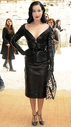 Photo of Dita Von Teese in Black Leather Dress at Christian Dior 2010 Spring Paris Fashion Week Showing