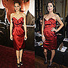 Marion Cotillard and Jessica Stroup Wear the Same Red Satin Strapless Vivienne Westwood Dress