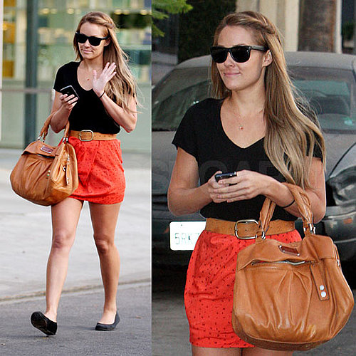 Lauren Conrad in LA Wearing Orange Miniskirt and Ray-Ban Wayfarers