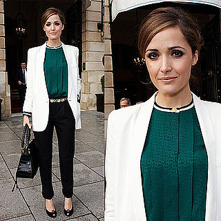Rose Byrne in Paris For Paris Fashion Week Wearing Forest Green Top and White Blazer