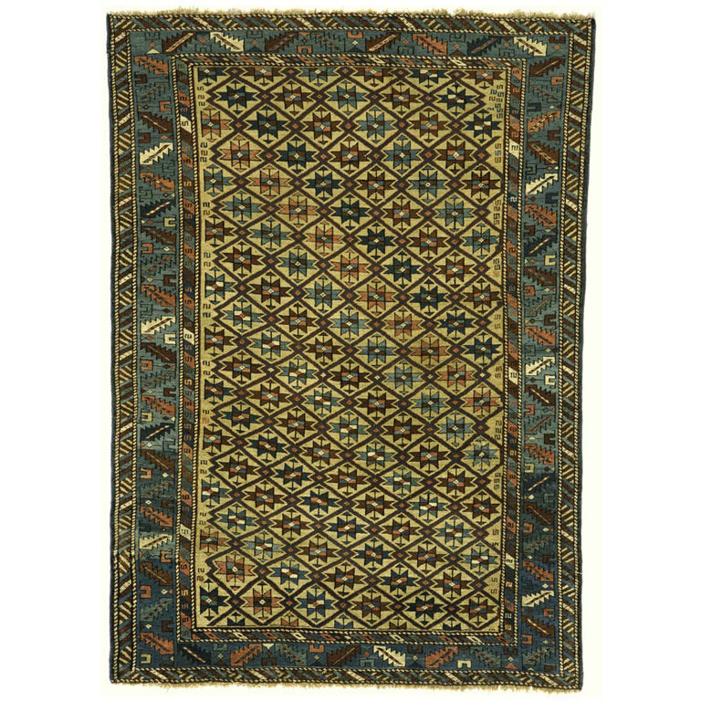 This Lesghi Rug (contact dealer for price) is from the early 20th century, and will add some intrigue to your home base.