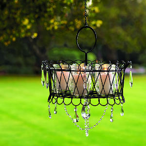 Transform an ordinary wire basket into a glam outdoor chandelier. Sunset shows you how.  Source