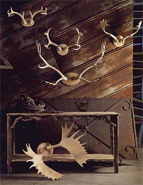 No animals were harmed in the making of these Roost Carved Wood Antler Plaques ($170).