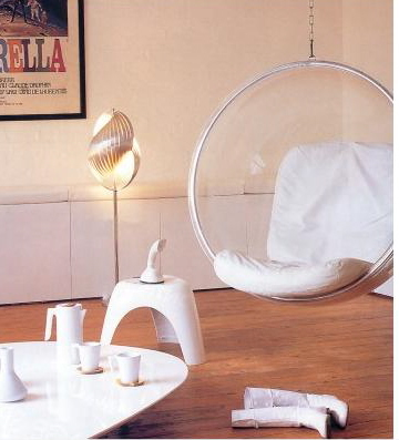 You can always go a bit more conventional and hang a modern classic, the Eero Aarnio hanging bubble chair.