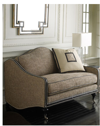 Take advantage of this fabric's versatility by adding the tweed Park Avenue Settee ($3,999) to your sitting room.