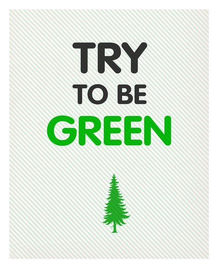 This Try to Be Green poster ($12) would look absolutely appropriate hung over your recycling area or framed in the bathroom next to the sink. Maybe it will inspire you or your guests to reduce water use or throw that #2 plastic in the right bin!