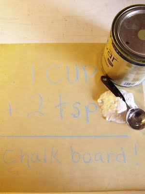 Homespun Threads clues us in on how to create chalkboard paint out of regular old housepaint.