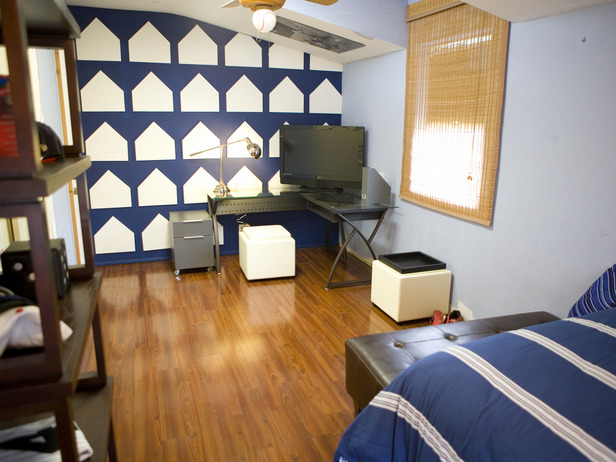 While designing a room for a teen baseball fan, Lonni used home plate as the inspiration for this wall. Her teen client loved it! At your own home, think of ways to subtly reference some of your favorite things through design.